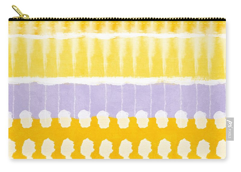 Abstract Carry-all Pouch featuring the painting Yellow and Grey Tie Dye by Linda Woods