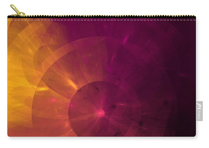 Abstract Carry-all Pouch featuring the digital art Yellow And Purple Umbrella Top Abstract by Andee Design