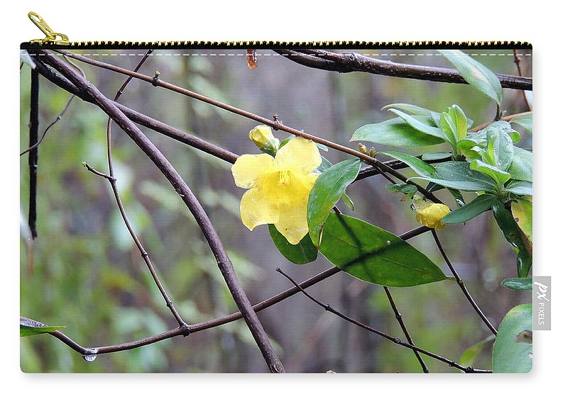 Yellow And The Odd Carry-all Pouch featuring the photograph Yellow And The Odd by Kim Pate
