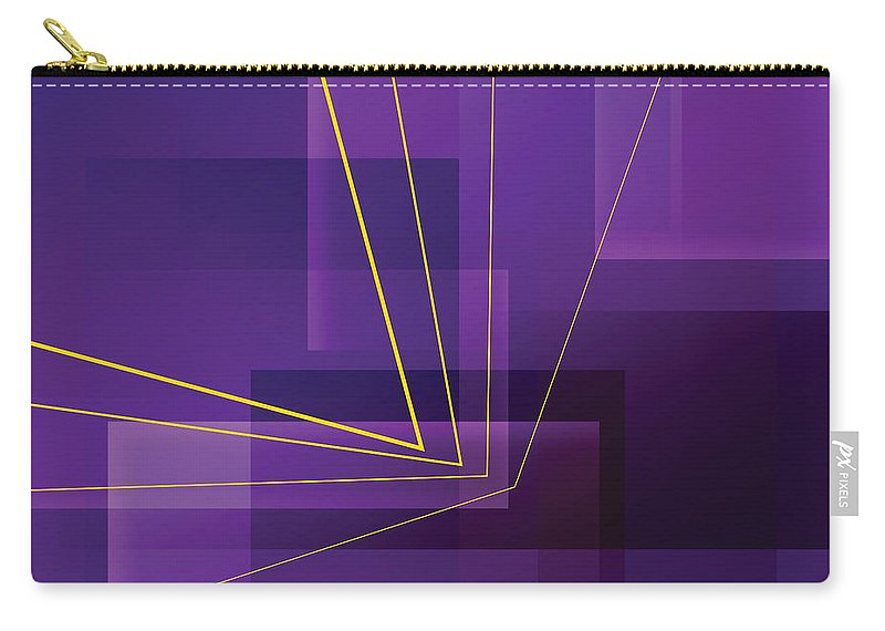Abstract Carry-all Pouch featuring the digital art Yellow Angles Through Purple Landscape by James Kramer