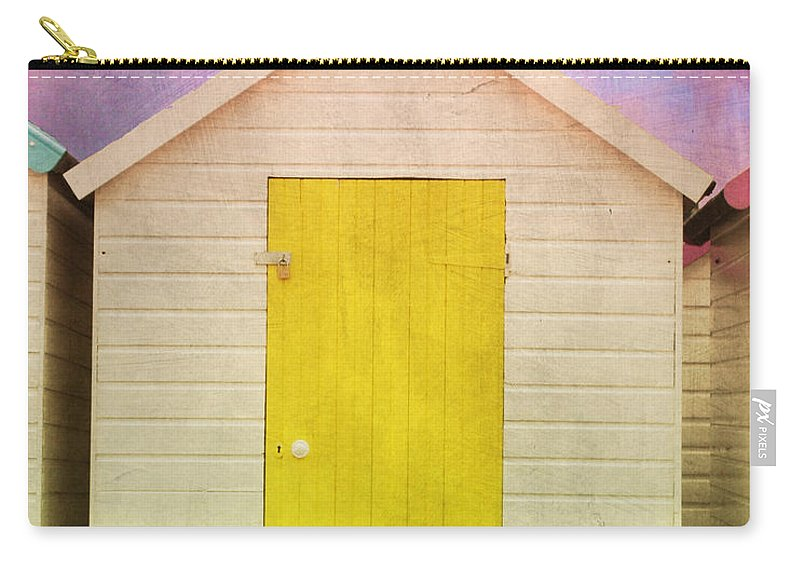 Beach Huts With Texture Carry-all Pouch featuring the photograph Yellow Beach Hut by Terri Waters
