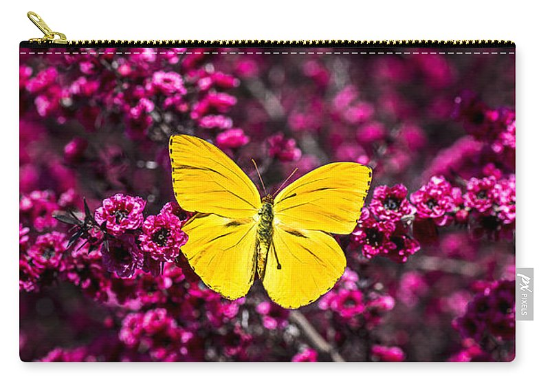 Evergreen Carry-all Pouch featuring the photograph Yellow Butterfly On Red Flowering Bush by Garry Gay