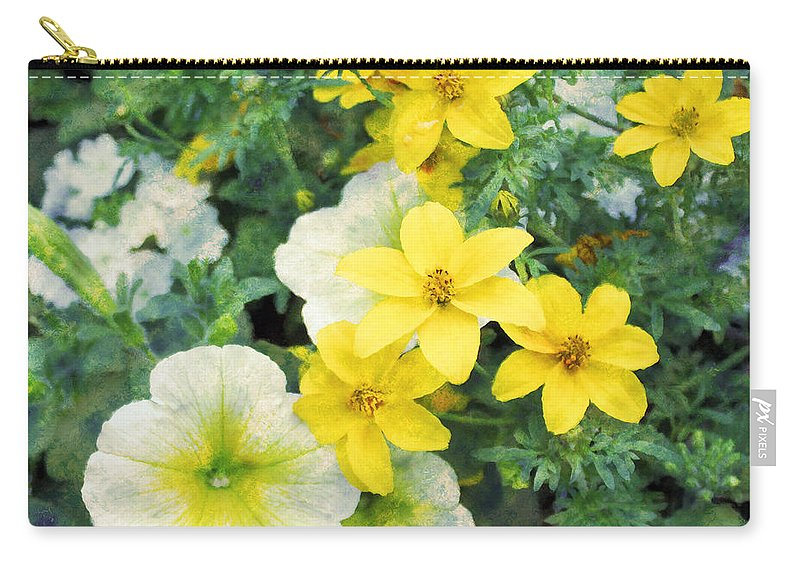 Yellow Petunia Carry-all Pouch featuring the photograph Yellow Cascade by Sylvia Thornton
