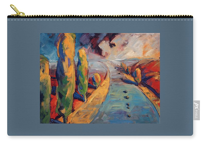 California Carry-all Pouch featuring the painting Yellow Cypress by Konnie Kim