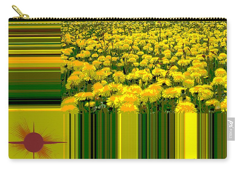 Yellow Daisies Carry-all Pouch featuring the digital art Yellow Daisies by Augusta Stylianou