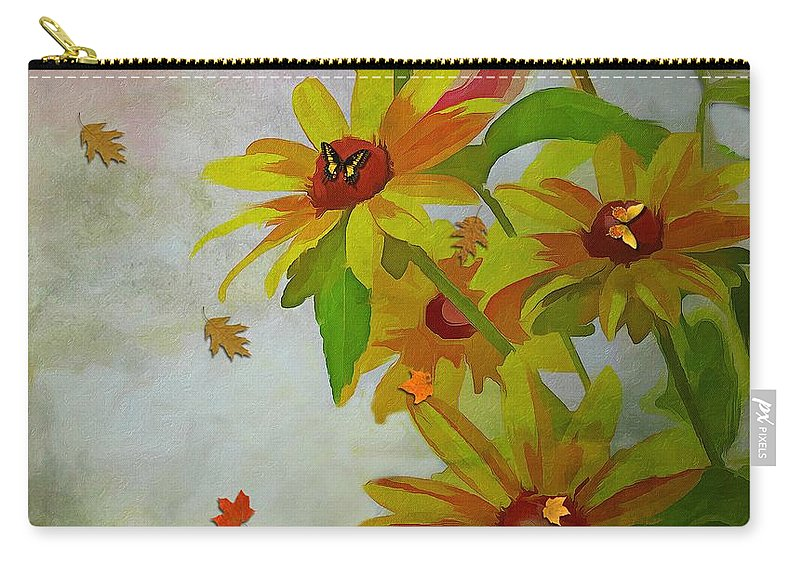 Yellow Daisy Flowers Carry-all Pouch featuring the mixed media Yellow Daisy Flowers by Liane Wright