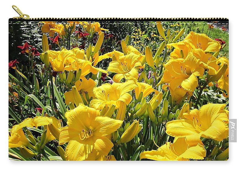 Buttered Popcorn Carry-all Pouch featuring the photograph Yellow Daylilies by MTBobbins Photography