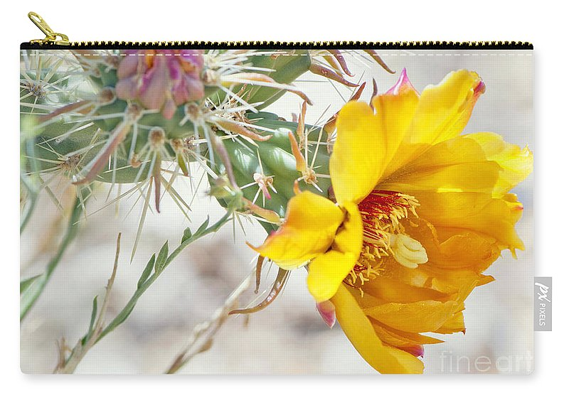 Diana Graves Photography Carry-all Pouch featuring the photograph Yellow Desert Flower by K D Graves