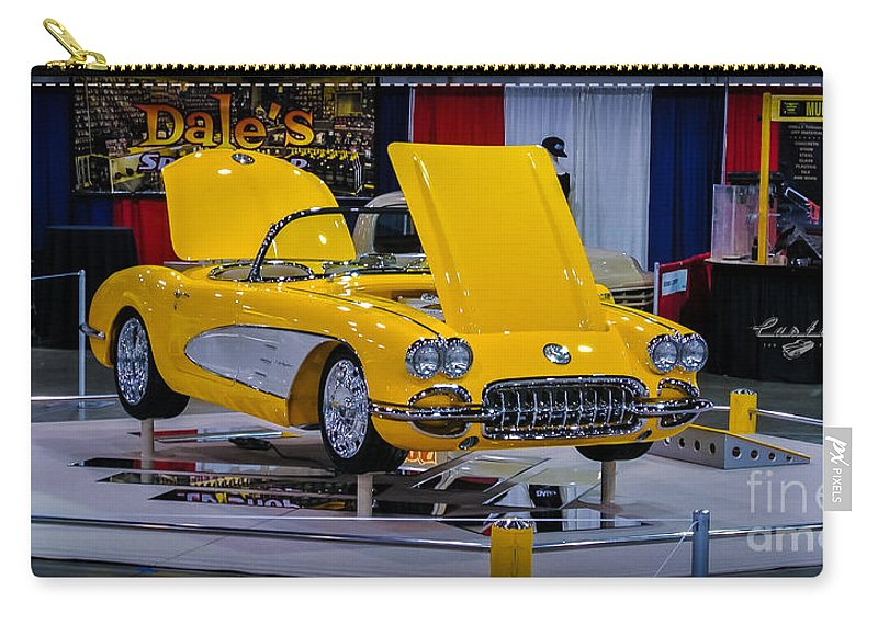 Corvette Carry-all Pouch featuring the photograph Yellow Dream by Customikes Fun Photography and Film Aka K Mikael Wallin