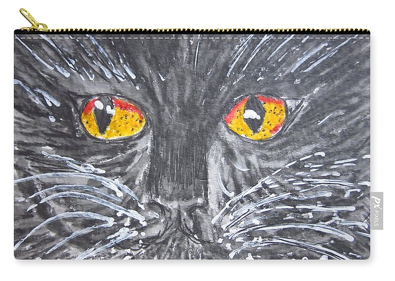 Yellow Eyes Carry-all Pouch featuring the painting Yellow Eyed Black Cat by Kathy Marrs Chandler