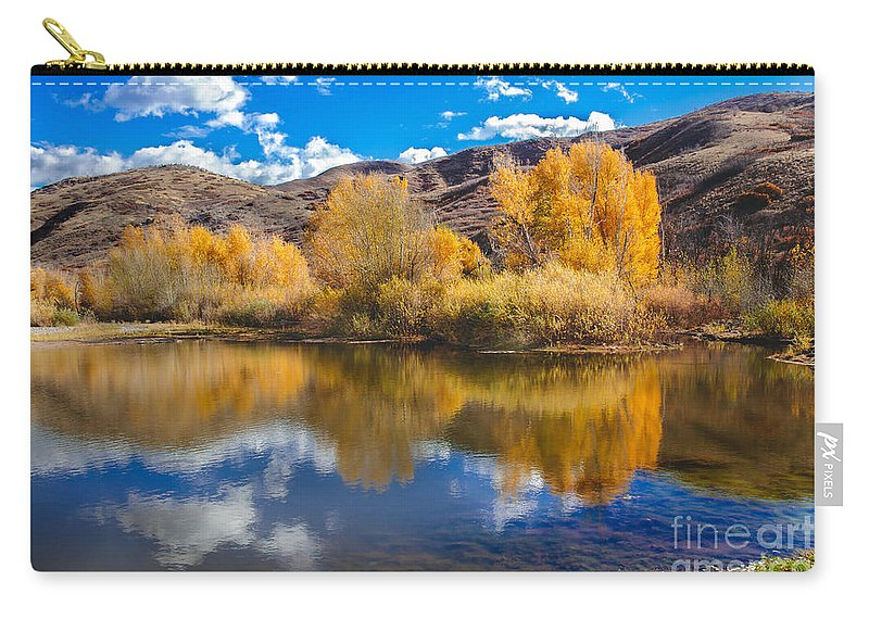 Yellow Carry-all Pouch featuring the photograph Yellow Fall Reflections by Robert Bales