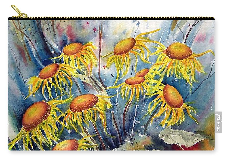 Flower Carry-all Pouch featuring the painting Yellow Flowers by Sam Sidders