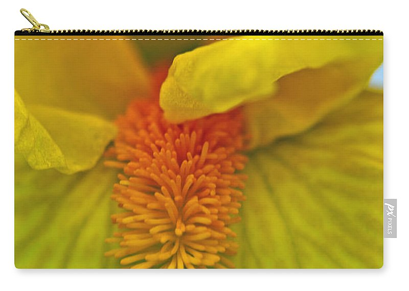Iris Carry-all Pouch featuring the photograph Yellow Iris Beard by Tikvah's Hope