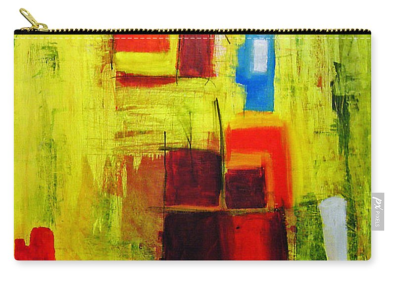 Abstract Painting Carry-all Pouch featuring the painting Yellow by Jeff Barrett