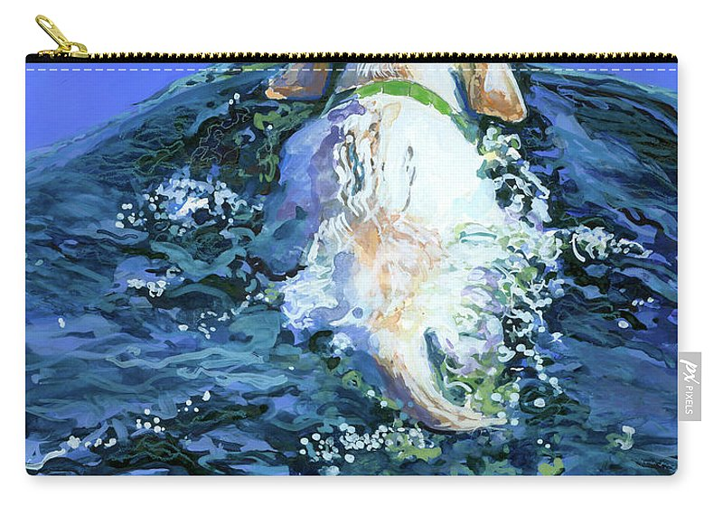 Yellow Labrador Retriever Carry-all Pouch featuring the painting Yellow Lab Blue Wake by Molly Poole