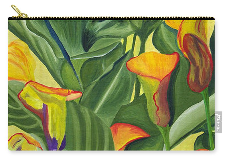 Lilies Carry-all Pouch featuring the painting Yellow Lilies by Annette M Stevenson
