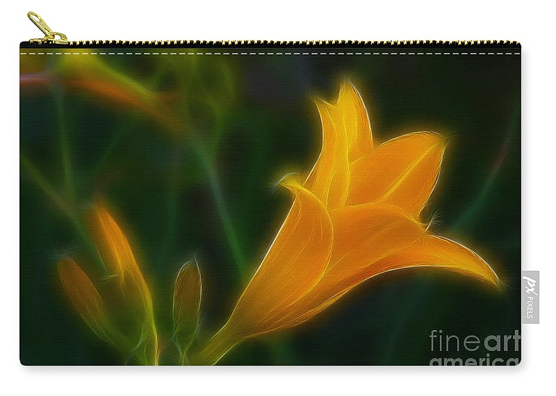 Flower Carry-all Pouch featuring the photograph Yellow Lily 6011-fractal by Gary Gingrich Galleries