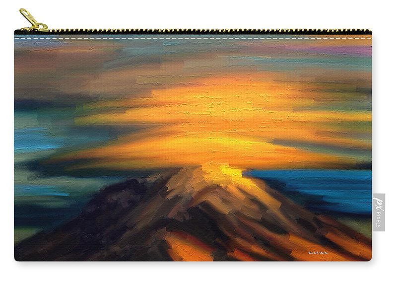 Yellow Mountaintop Hugged By Yellow Cloud Carry-all Pouch featuring the painting Yellow Mountaintop Hugged By Yellow Cloud by Angela Stanton