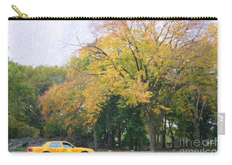 Nyc Taxi Carry-all Pouch featuring the digital art Yellow Nyc Taxi Driving Through Central Park Usa by Liz Leyden