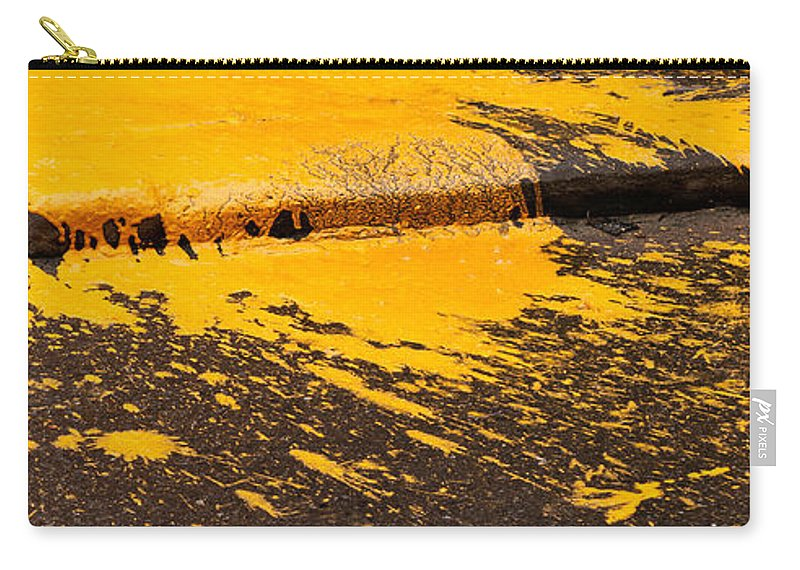 Yellow Carry-all Pouch featuring the photograph Yellow Ochre Paint Spill 01 by Rick Piper Photography