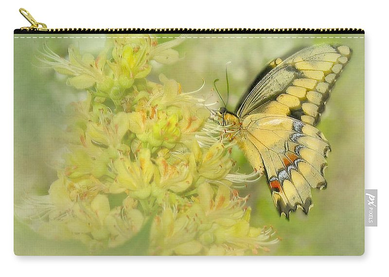 Butterfly Carry-all Pouch featuring the photograph Yellow On Yellow by David and Carol Kelly