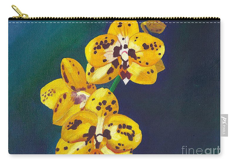 Flowers Carry-all Pouch featuring the painting Yellow Orchids by Laura Forde