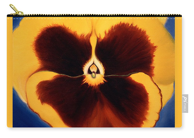 Pansy Carry-all Pouch featuring the painting Yellow Pansy by Anni Adkins