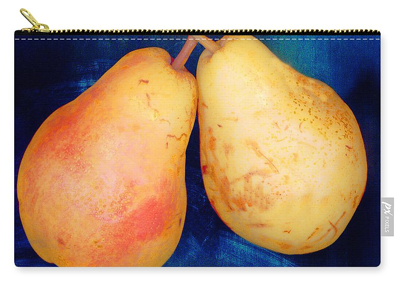Pear Pair Fruit Stem Skin Flesh Yellow Red Blue Carry-all Pouch featuring the photograph Yellow Pears On Blue Number Two by Heather Kirk