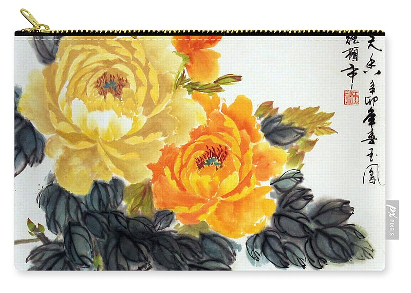 Yellow Peonies Carry-all Pouch featuring the photograph Yellow Peonies by Yufeng Wang