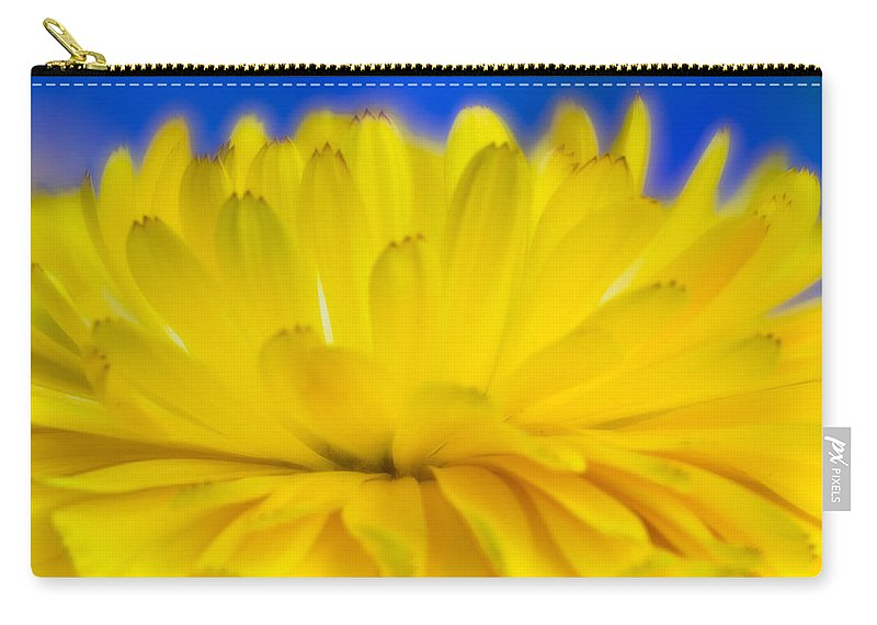 Yellow Flower Carry-all Pouch featuring the photograph Yellow Petal Explosion by Greg Nyquist