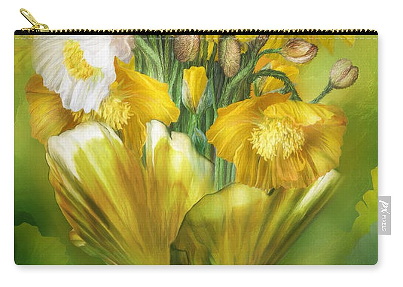 Poppy Carry-all Pouch featuring the mixed media Yellow Poppies In Poppy Vase by Carol Cavalaris