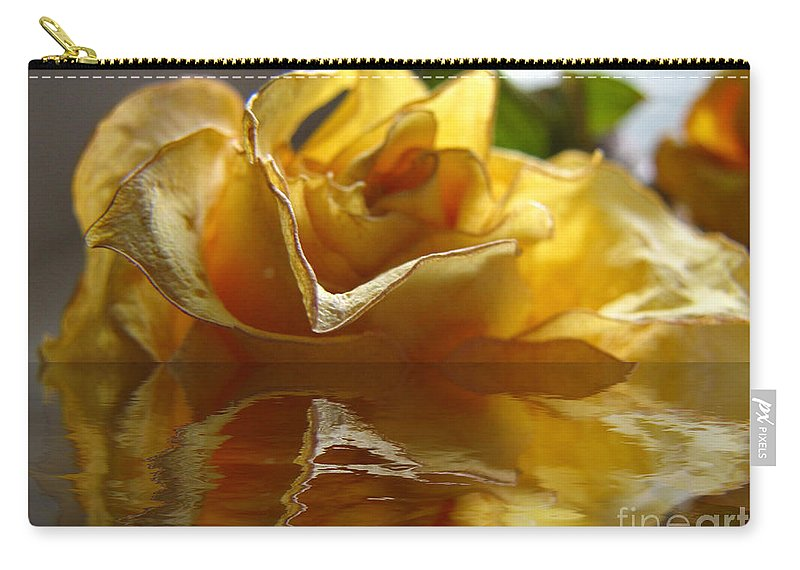 Nature Carry-all Pouch featuring the photograph Yellow Rose Wet And Dry by Debbie Portwood