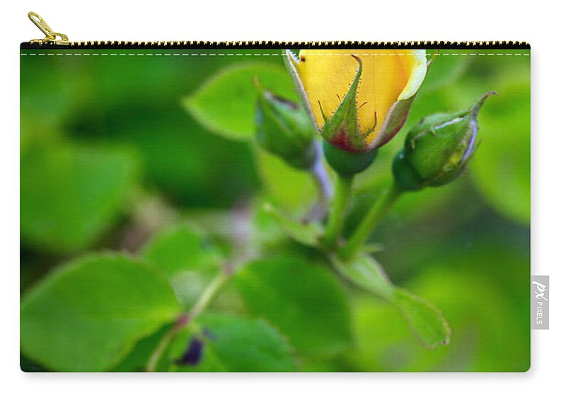 Bumble Bee Carry-all Pouch featuring the photograph Yellow Rosebud by Sennie Pierson
