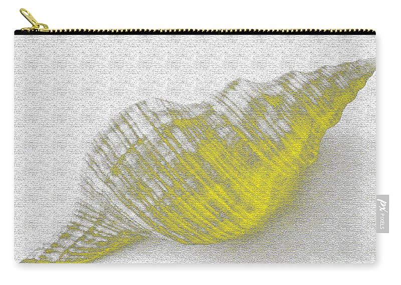 Yellow Carry-all Pouch featuring the digital art Yellow Seashell by Carol Lynch