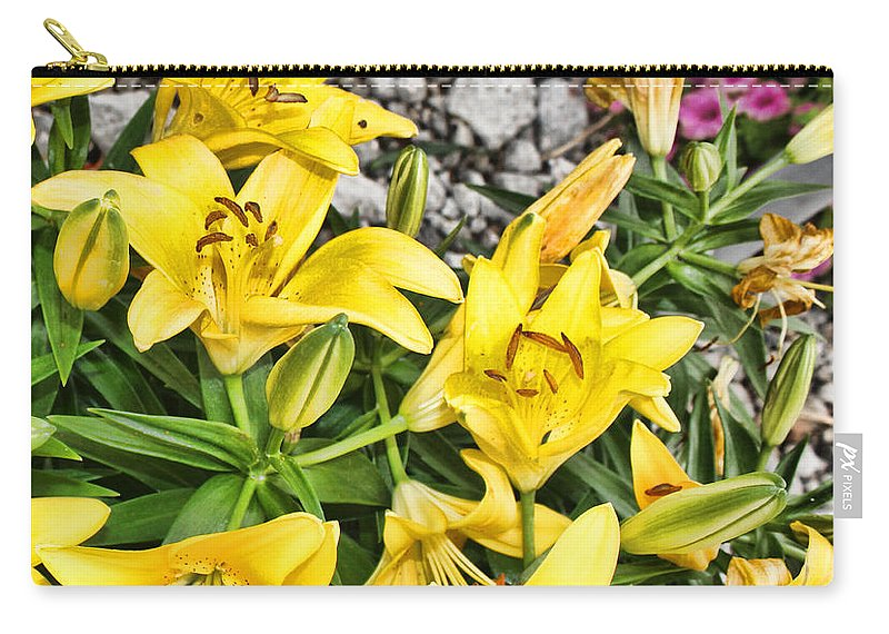 Yellow Lilies Carry-all Pouch featuring the photograph Yellow Spring by Sylvia Thornton