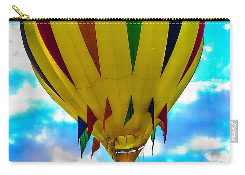 Arizonia Carry-all Pouch featuring the photograph Yellow Striped Hot Air Balloon by Robert Bales