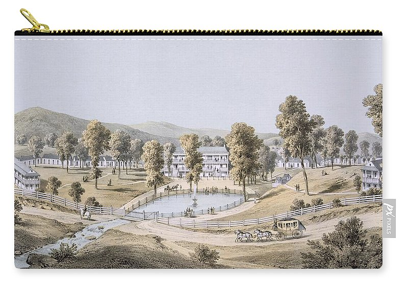 Virginia Carry-all Pouch featuring the drawing Yellow Sulphur Springs, Montgomery by Edward Beyer