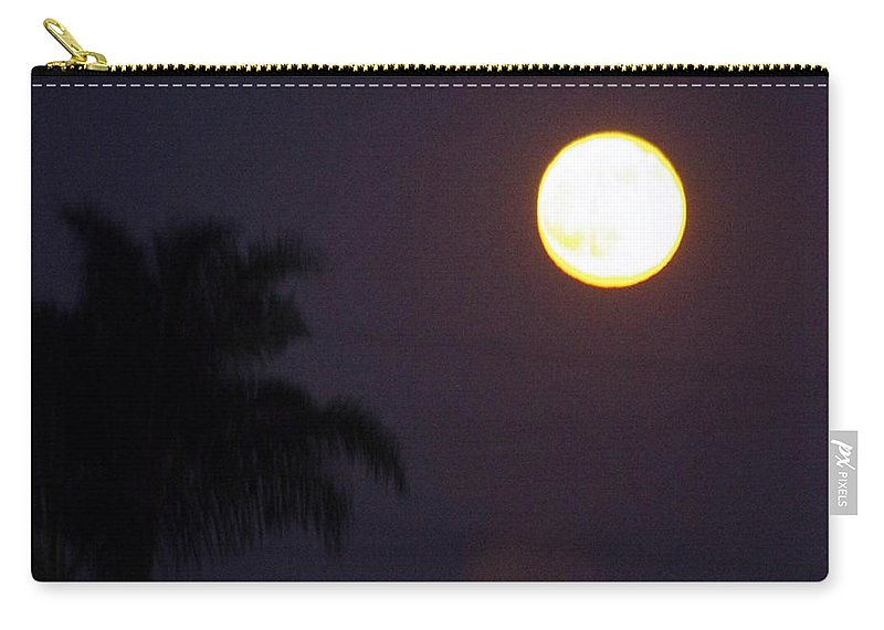 Moon Carry-all Pouch featuring the photograph Yellow Super Moon by Phyllis Spoor