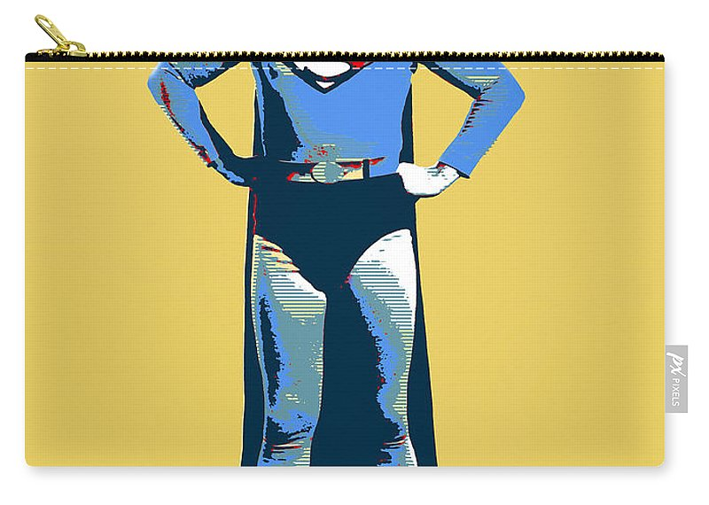 Pop Art Carry-all Pouch featuring the mixed media Yellow Superman by Dominic Piperata