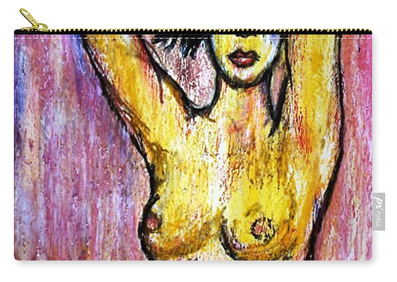 Nude Carry-all Pouch featuring the drawing Yellow by Thomas Valentine