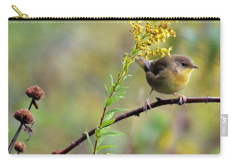 Common Yellow Throat Carry-all Pouch featuring the photograph Yellow Throat In Late Summer Prairie by Crystal Heitzman Renskers
