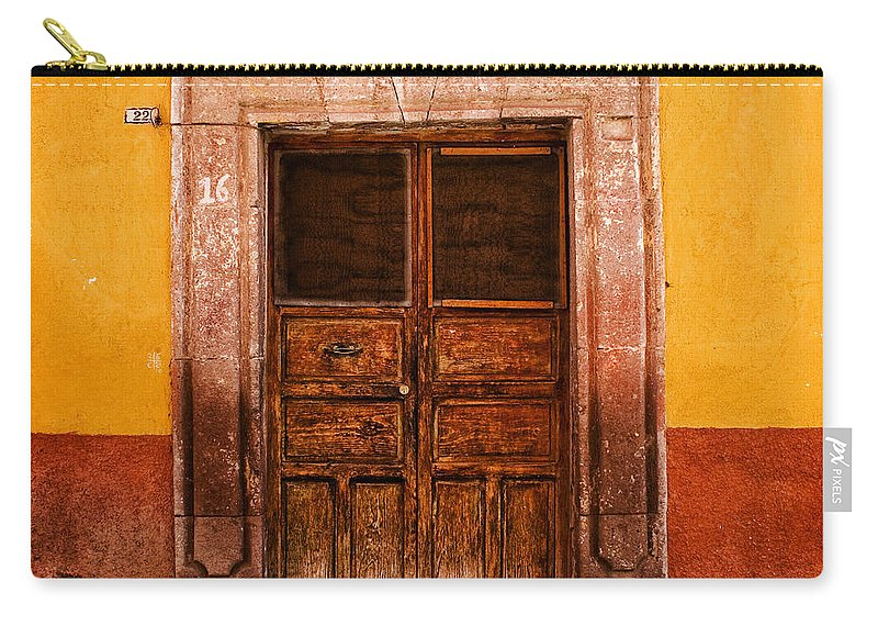 San Miguel De Allende Carry-all Pouch featuring the photograph Yellow Wall Wooden Door by Carol Leigh