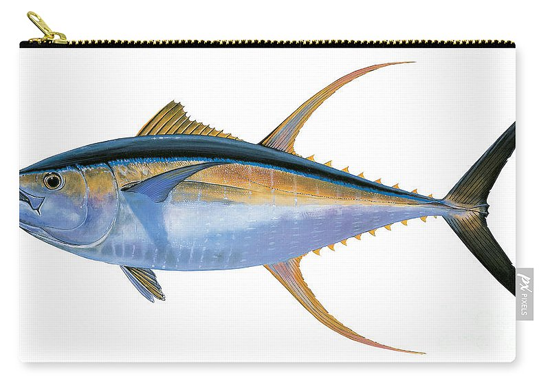 Yellowfin Tuna Carry-all Pouch featuring the painting Yellowfin Tuna by Carey Chen