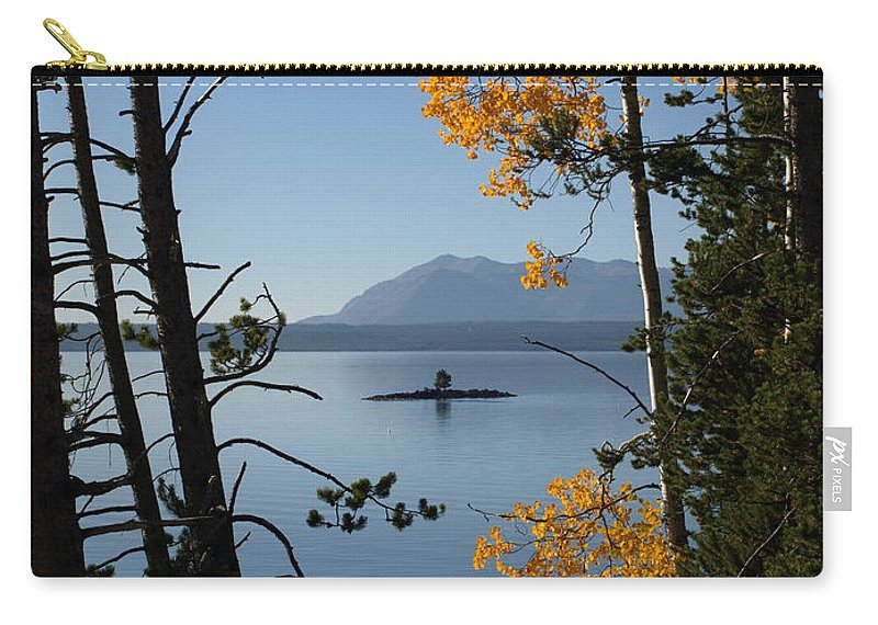 Yellowstone Carry-all Pouch featuring the photograph Yellowstone Lake At Dusk by Jacklyn Duryea Fraizer