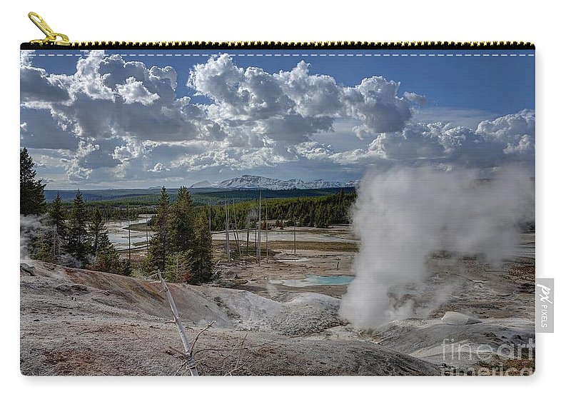 Geyser Carry-all Pouch featuring the photograph Yellowstone's Norris Geyser Basin by Bill Gabbert