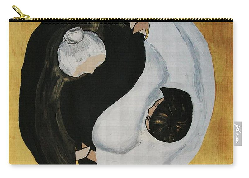 Family Carry-all Pouch featuring the painting Yin Yang Generations Hand In Hand by Cris Motta