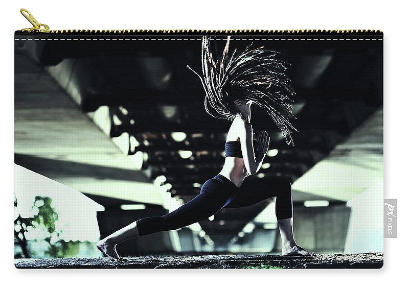 Warrior 2 Carry-all Pouch featuring the photograph Yoga Virabhadrasana by Myshkovsky