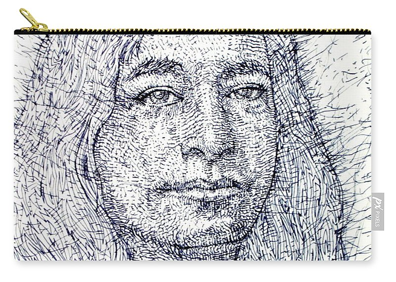 Yogananda Carry-all Pouch featuring the drawing Yogananda - Pen Portrait by Fabrizio Cassetta