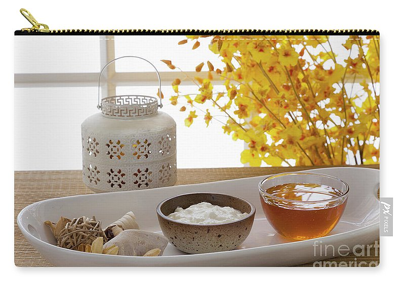Spa Carry-all Pouch featuring the photograph Yogurt And Honey On A Tray In A Spa by Juan Silva