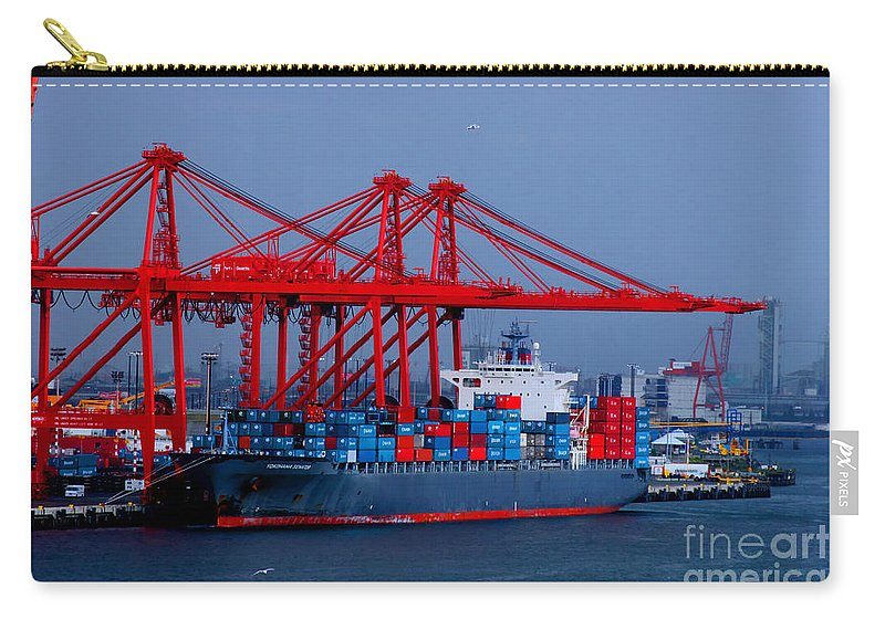 Cargo Carry-all Pouch featuring the photograph Yokohama Senator Cargo Ship by Tap On Photo